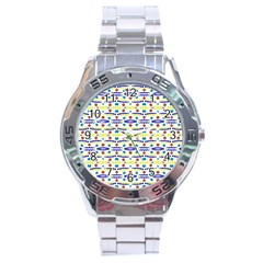 Retro Blue Yellow Brown Teal Dot Pattern Stainless Steel Analogue Watch by BrightVibesDesign