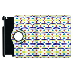 Retro Blue Yellow Brown Teal Dot Pattern Apple Ipad 2 Flip 360 Case by BrightVibesDesign