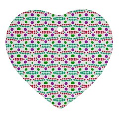 Retro Purple Green Pink Pattern Ornament (heart) by BrightVibesDesign
