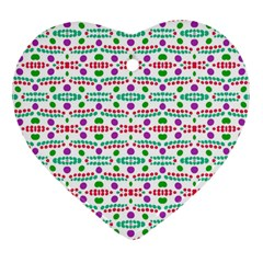Retro Purple Green Pink Pattern Heart Ornament (two Sides) by BrightVibesDesign