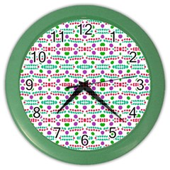 Retro Purple Green Pink Pattern Color Wall Clock by BrightVibesDesign
