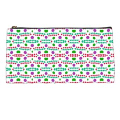 Retro Purple Green Pink Pattern Pencil Cases by BrightVibesDesign
