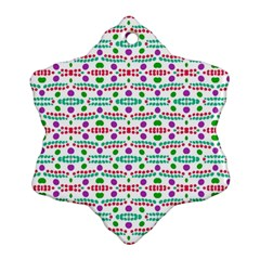 Retro Purple Green Pink Pattern Snowflake Ornament (two Sides) by BrightVibesDesign