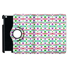Retro Purple Green Pink Pattern Apple Ipad 2 Flip 360 Case by BrightVibesDesign
