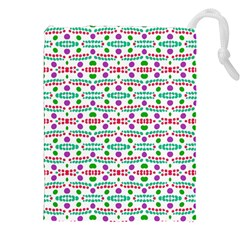Retro Purple Green Pink Pattern Drawstring Pouch (xxl) by BrightVibesDesign