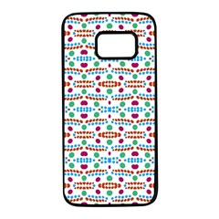 Retro Pink Green Blue Orange Dots Pattern Samsung Galaxy S7 Black Seamless Case by BrightVibesDesign