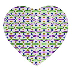 Retro Blue Purple Green Olive Dot Pattern Ornament (heart) by BrightVibesDesign