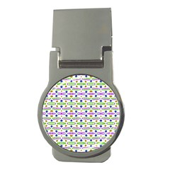 Retro Blue Purple Green Olive Dot Pattern Money Clips (round)  by BrightVibesDesign