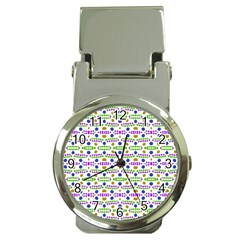 Retro Blue Purple Green Olive Dot Pattern Money Clip Watches by BrightVibesDesign