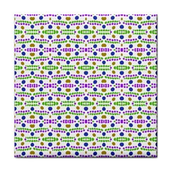 Retro Blue Purple Green Olive Dot Pattern Face Towel by BrightVibesDesign