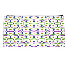 Retro Blue Purple Green Olive Dot Pattern Pencil Cases by BrightVibesDesign