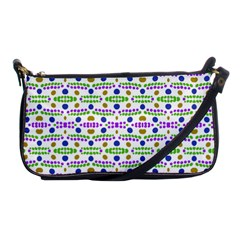 Retro Blue Purple Green Olive Dot Pattern Shoulder Clutch Bag by BrightVibesDesign