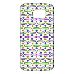 Retro Blue Purple Green Olive Dot Pattern Samsung Galaxy S6 Hardshell Case  by BrightVibesDesign