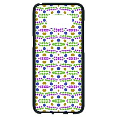 Retro Blue Purple Green Olive Dot Pattern Samsung Galaxy S8 Black Seamless Case by BrightVibesDesign