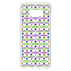 Retro Blue Purple Green Olive Dot Pattern Samsung Galaxy S8 Plus White Seamless Case by BrightVibesDesign