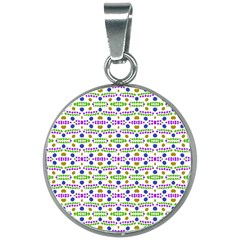 Retro Blue Purple Green Olive Dot Pattern 20mm Round Necklace by BrightVibesDesign