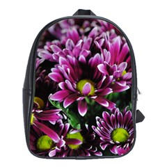 Maroon And White Mums School Bag (large)