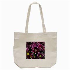 Maroon And White Mums Tote Bag (cream)