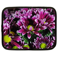 Maroon And White Mums Netbook Case (large)