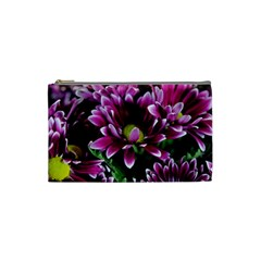 Maroon And White Mums Cosmetic Bag (small)