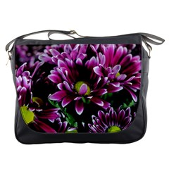 Maroon And White Mums Messenger Bag