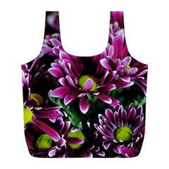 Maroon And White Mums Full Print Recycle Bag (l)