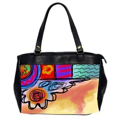 Colorful Abstract Art Oversize Office Handbag (2 Sides) by paintedpurses