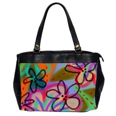 Wild Flowers Abstract Art Oversize Office Handbag (2 Sides) by paintedpurses