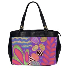 Funky Abstract Floral Oversize Office Handbag (2 Sides) by paintedpurses
