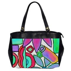Funky Flowers Abstract Art Oversize Office Handbag (2 Sides) by paintedpurses