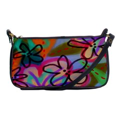 Wild Flowers Abstract Art Shoulder Clutch Bag by paintedpurses