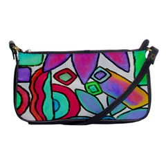 Funky Flowers Abstract Art Shoulder Clutch Bag by paintedpurses