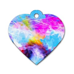 Background Drips Fluid Colorful Dog Tag Heart (one Side) by Sapixe