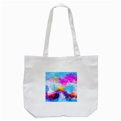 Background Drips Fluid Colorful Tote Bag (white) by Sapixe