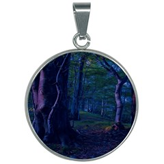 Beeches Tree Forest Beech Shadows 30mm Round Necklace by Sapixe