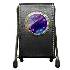 Purple Background Art Abstract Watercolor Pen Holder Desk Clock