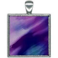 Purple Background Art Abstract Watercolor Square Necklace