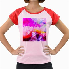 Background Drips Fluid Colorful Women s Cap Sleeve T Shirt
