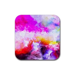 Background Drips Fluid Colorful Rubber Square Coaster (4 Pack)