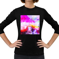Background Drips Fluid Colorful Women s Long Sleeve Dark T-shirt by Sapixe