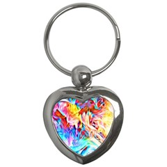 Background Drips Fluid Colorful Key Chains (heart)
