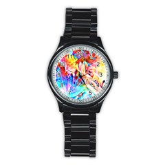 Background Drips Fluid Colorful Stainless Steel Round Watch by Sapixe