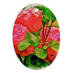 Figure Watercolor Art Nature Oval Ornament (two Sides)
