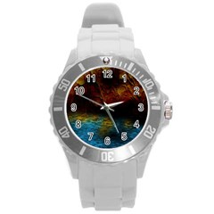 Background Cave Art Abstract Round Plastic Sport Watch (l) by Sapixe