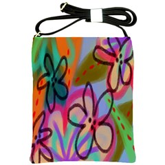 Funky Flowers Abstract Art Shoulder Sling Bag by paintedpurses