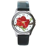 Deep Plumb Blossom Round Metal Watch Front