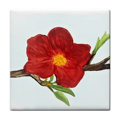 Deep Plumb Blossom Tile Coasters by lwdstudio