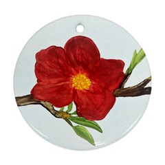 Deep Plumb Blossom Ornament (round) by lwdstudio