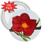 Deep Plumb Blossom 3  Buttons (100 pack)  Front