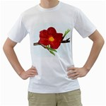 Deep Plumb Blossom Men s T-Shirt (White) (Two Sided) Front